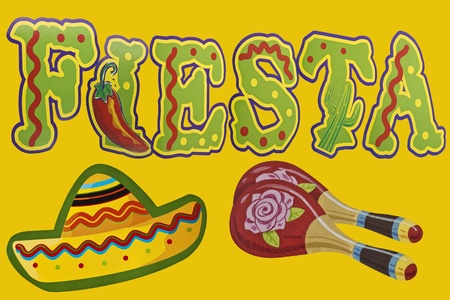 The Word Fiesta with sombrero and maracas Stock Photo - 13961455