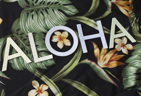 frond: The word Aloha on Textile with palm fronds, bird of paradise, leaves, and flowers. Stock Photo