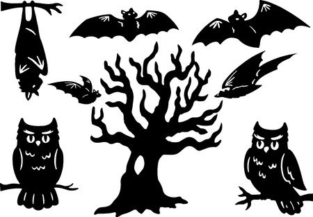 owl illustration: Halloween Silhouettes with owl, bats, and tree
