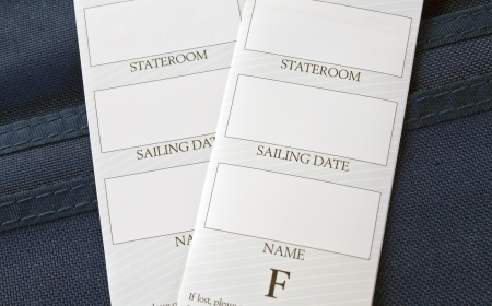 stateroom: Cruise boarding packet with luggage tags Stock Photo