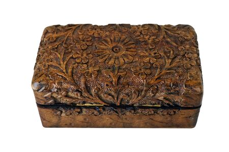 hand carved: Hand Carved Wooden Box isolated Stock Photo