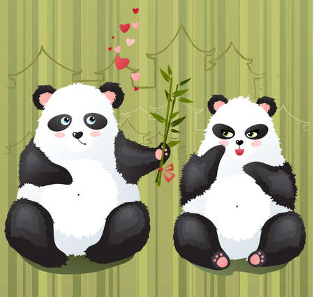 Pandas in love Illustration