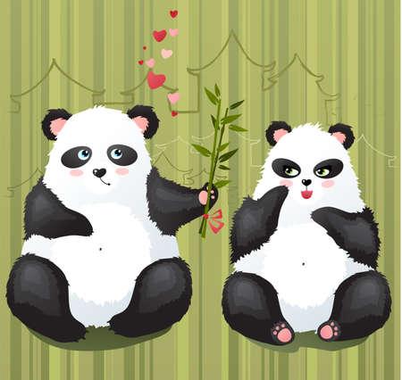 Pandas in love Illustration
