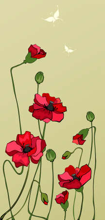 poppy field: Poppie field Illustration
