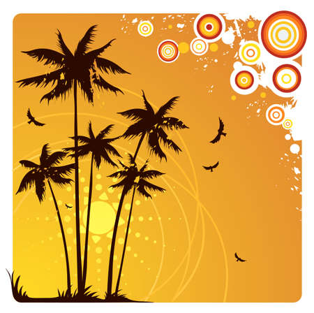 Palm trees on sunset Stock Vector - 3255747
