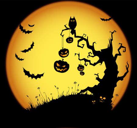 calabazas de halloween: Halloween de miedo de fondo  Vectores