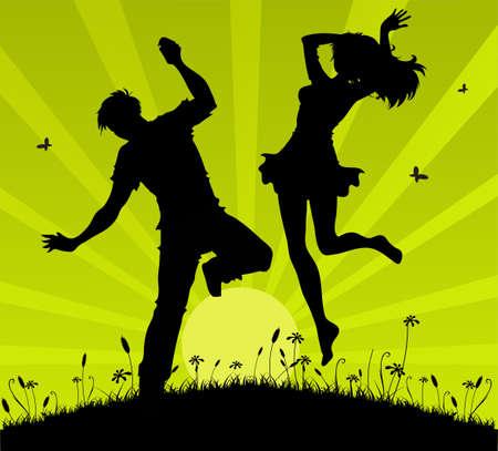 Jumping couple Illustration