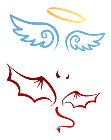 Angel and devil attributes Vector