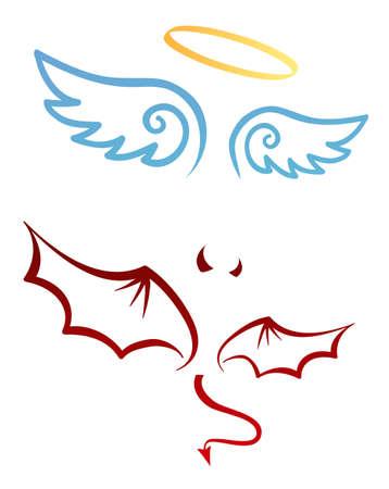 Atributos de ángel y demonio Ilustración de vector