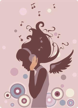 Music angel Vector