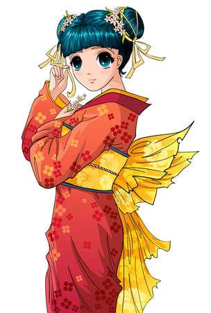 キャラクター: アニメの女の子  イラスト・ベクター素材