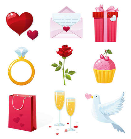 St, Valentines Day Icons Illustration