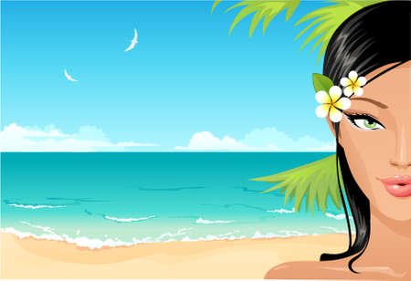 Beach girl Stock Vector - 4333600
