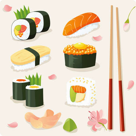 sushi: Sushi-set Illustration