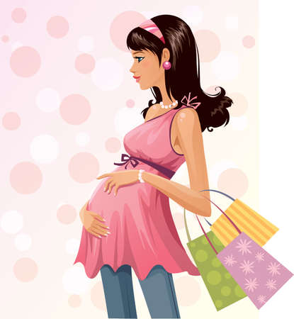 awaiting: Beautiful pregnant shopper Illustration