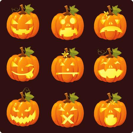 Jack O Lantern Icon-Set Standard-Bild - 5375217