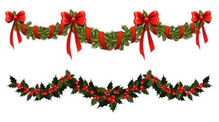 slingers: Kerst Gekroonde Stock Illustratie