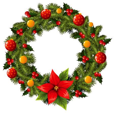 Christmas pine wreath Vector