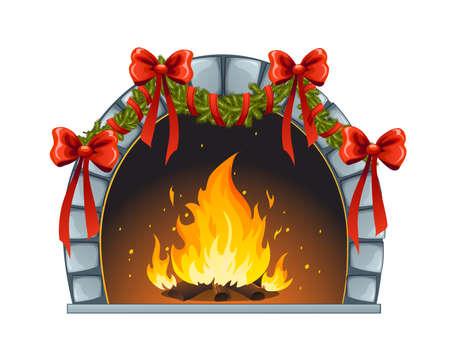 Kerst fireplace Vector Illustratie
