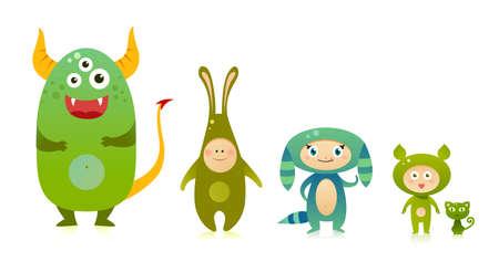 Cute green monsters