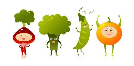 Happy vegetables Vector