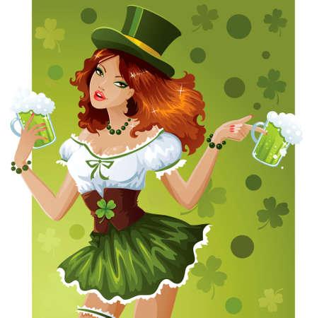 irish woman: St. Patricks Day waitress