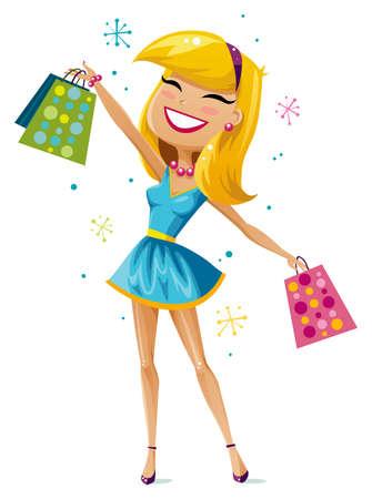 幸せなショッピングの女の子
