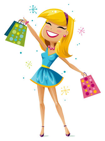 attractive: Happy shopping girl