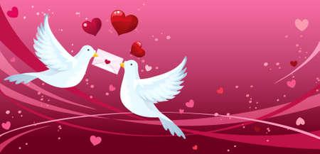 Liefdevolle duiven  Stock Illustratie
