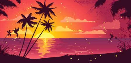 sea bird: Exotic sunset