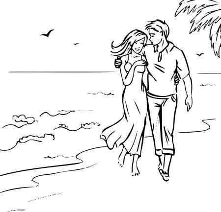 bocetos de personas: Pareja en la playa