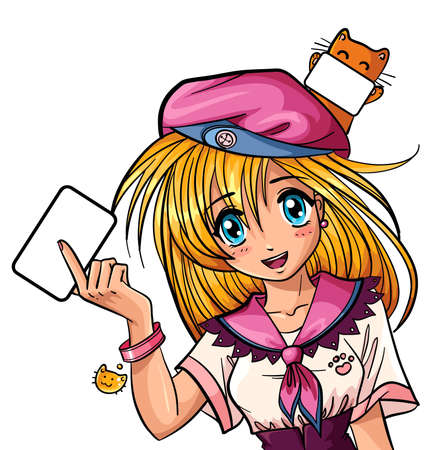anime young: Cute manga girl