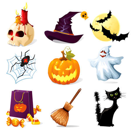 halloween cartoon: Halloween icons Illustration
