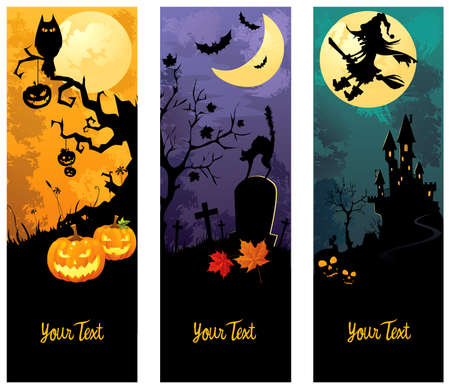 autumn leafs: Halloween banners set
