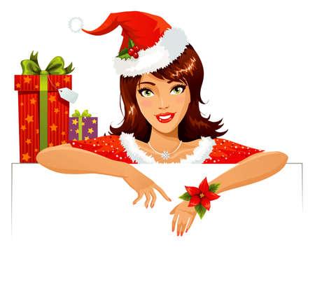 sexy santa m�dchen: Santa Helper mit banner
