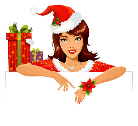 hand holding flower: Santa Helper with banner Illustration