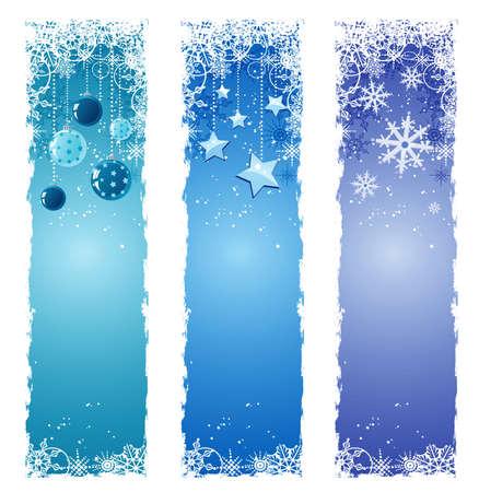 verticales: Azules banners de Navidad