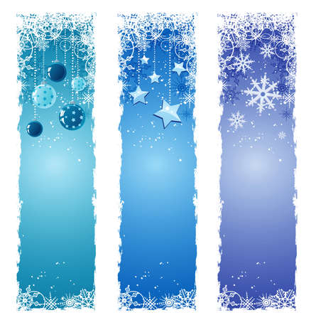 vertical banner: Blue Christmas banners