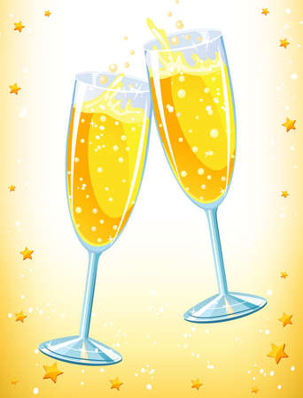 cheers: Golden champagne Illustration
