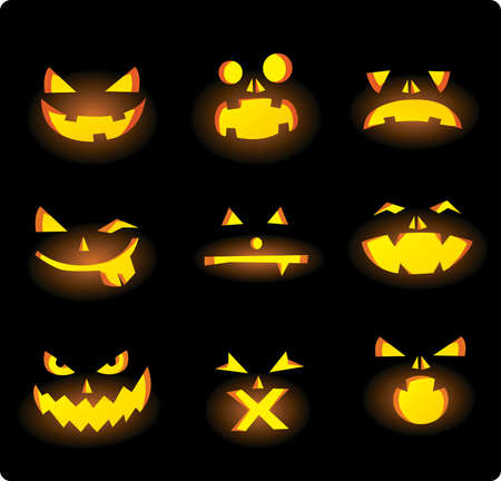 Halloween carved pumpkin faces Vector