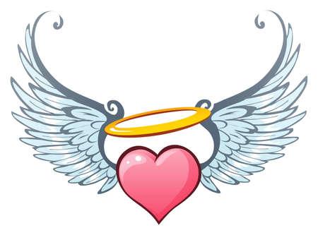 hartje cartoon: Angelic liefde Stock Illustratie