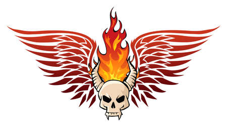 Skull in flames Vector