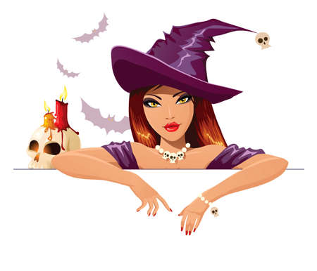 redhead woman: halloween witch with blank banner