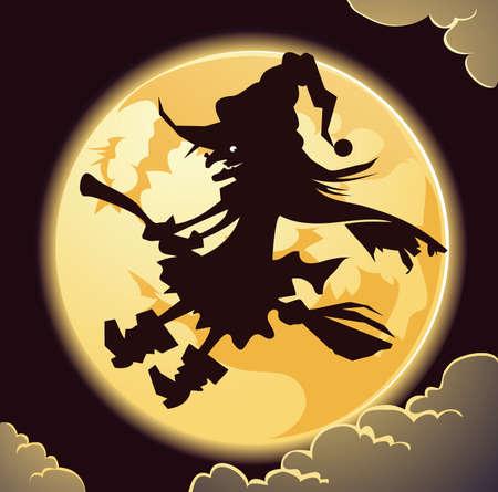 escoba: Creepy bruja de Halloween Vectores