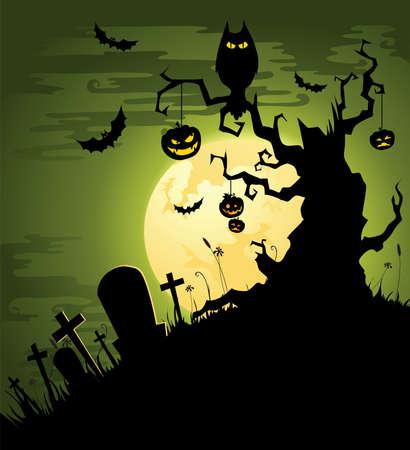 boom halloween: Griezelige Halloween achtergrond in het groen Stock Illustratie