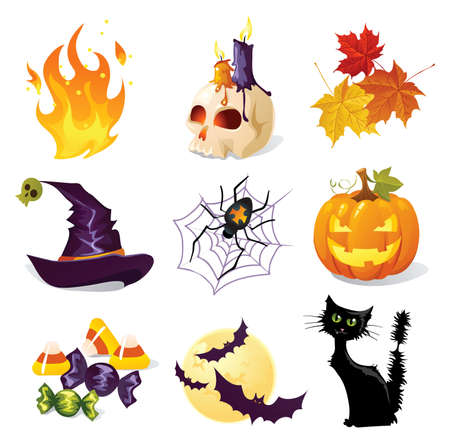 hat trick: Halloween icone Vettoriali