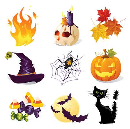 Los iconos de Halloween Ilustración de vector