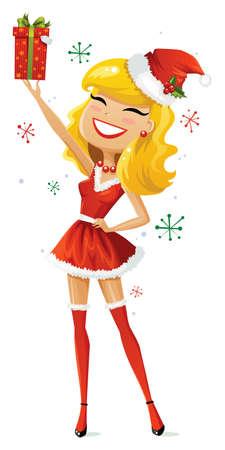 Schattig en sexy helper van de Kerstman Stock Illustratie