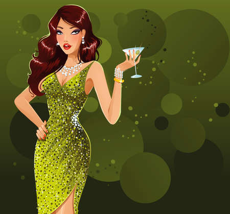 緑のドレスの美しいブルネット  イラスト・ベクター素材