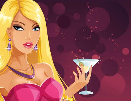 Blonde avec un cocktail